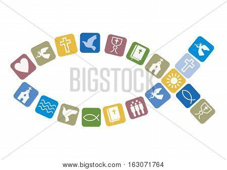 Christian fish symbol with other Christian symbols. Vector available.