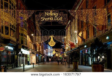 Dublin, Ireland - 25th Dec, 2016: Grafton street in Dublin, Christmas light. The inscription