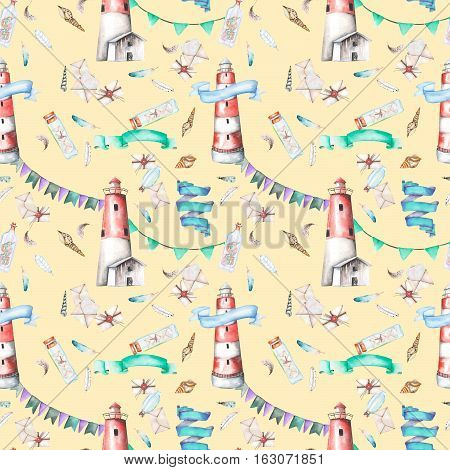 Seamless pattern with watercolor elements to the marine theme: lighthouse, shells, flags, seagulls, letters and others; hand painted on a yellow background