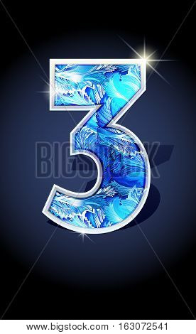 Blue frost winter number three on dark background isolated. Blue frost illustration number 3 for winter date design. Number 3 icon. Vector illustration stock vector.