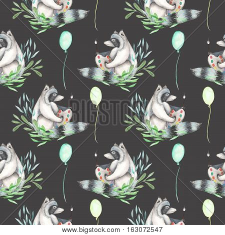 Seamless pattern with watercolor artist-raccoon in plants and air balloons around, hand drawn isolated on a dark background