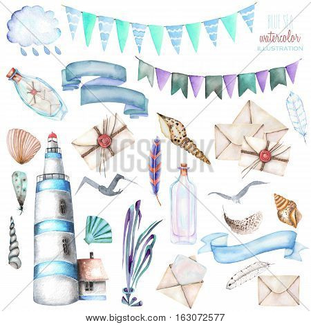 Set of watercolor elements to the marine theme: lighthouse, shells, flags, seagulls, letters and others; hand painted isolated on a white background