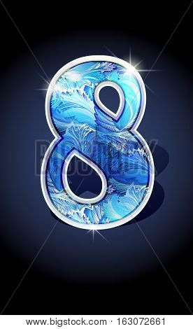 Blue frost winter number eight on dark background isolated. Blue frost illustration number 8 for winter date design. Number 8 icon. Vector illustration stock vector.
