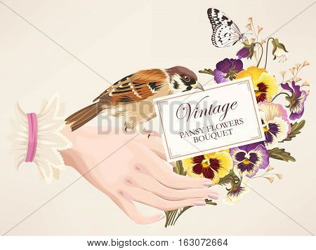 Vestor vintage illustration of woman hand with pansies and bird
