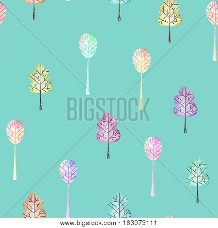 Seamless floral pattern with simple multicolored trees, hand drawn in watercolor on a turquoise background