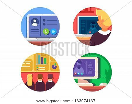 Meeting or web conference icon set. Presentation and business conference. Vector illustration