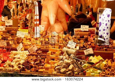 NOTTINGHAM ENGLAND - DECEMBER 22: Array of candy/sweets/fudge on sweet stall Nottingham Christmas Market. In Nottingham England. On 22nd December 2016.