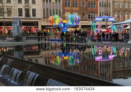 NOTTINGHAM ENGLAND - DECEMBER 22: Fairground rides at Nottingham Christmas market. In Nottingham England. On 22nd December 2016.