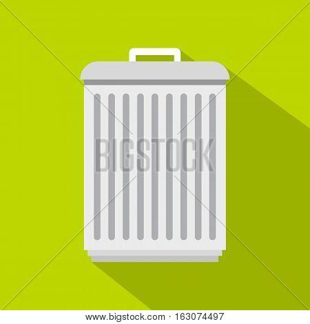 Trashcan icon. Flat illustration of trashcan vector icon for web
