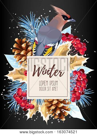 Vector winter card with rowan, pine and waxwing