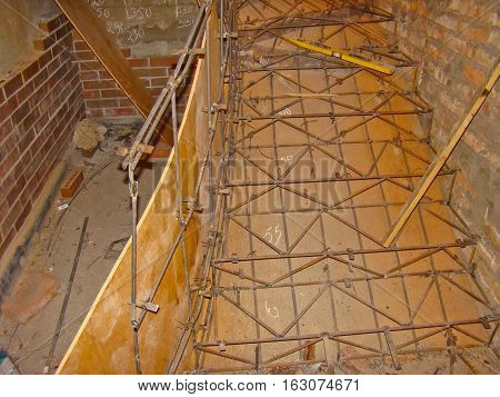 Formwork for stairs in a modern building