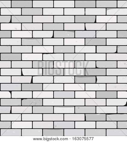 White Brick wall vector background. Seamless pattern. Textured rough surface. Building construction theme. Grunge brickwork illustration. Old structure template.