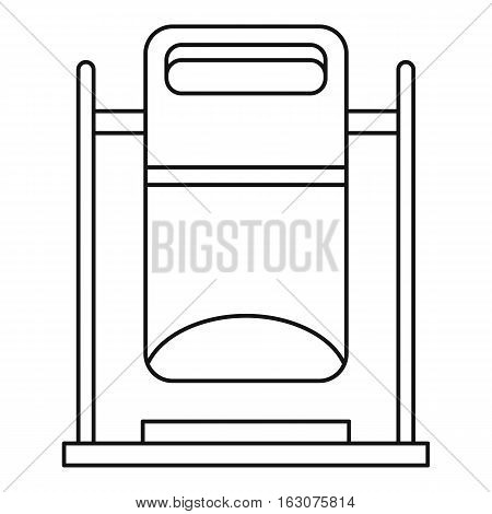 Swinging trashcan icon. Outline illustration of swinging trashcan vector icon for web