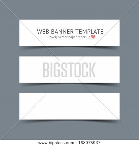 White horizontal paper banners with shadows isolated on dark gray background. Realistic vector paper template for portfolio presentation, business identity, web banner, header and footer
