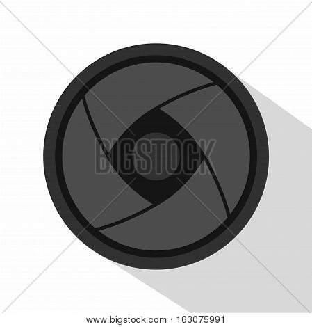 Camera lens icon. Flat illustration of camera lens vector icon for web