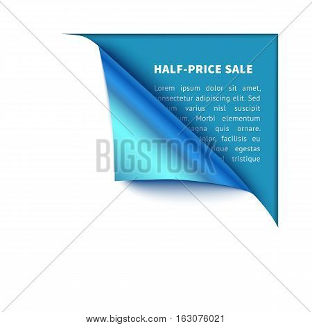 Corner white torn paper with blue background for your design. Realisric vector curved corner for sale and promo advertising, banner