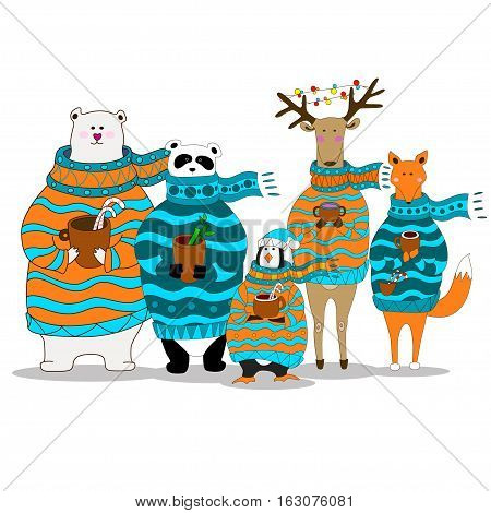 Vector Illustration, A cute cartoon panda, bear, fox, penguin, deer with scarf is holding cup with hot drink in the hands