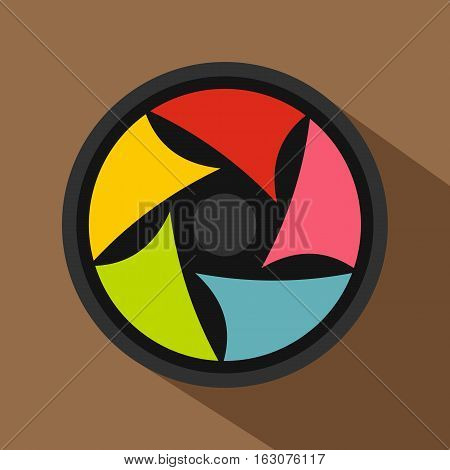 Video lens icon. Flat illustration of video lens vector icon for web