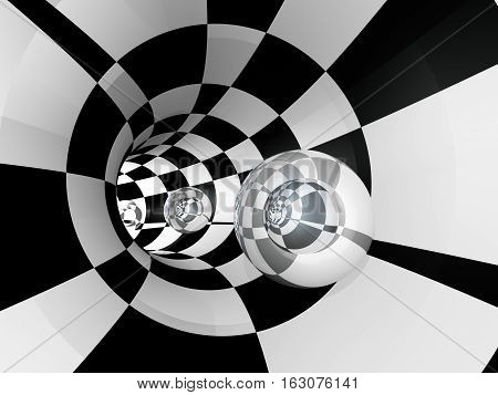 A tunnel with a series of glass spheres 3D illustration.