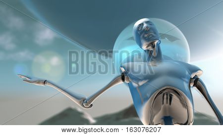 A silver robot against a planetoid background in position of asking a question 3D illustration.
