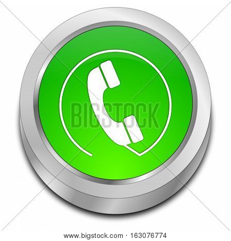 green Phone call Button - 3D illustration