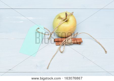 Green Apple With Turquoise Label