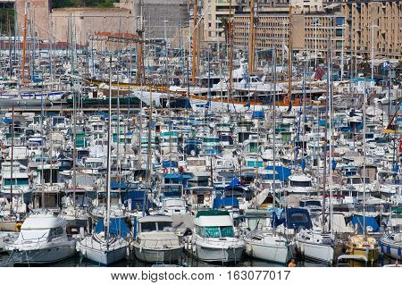 Marseille France - May 8 2011: Old port full of boats and yachts.It has been the natural harbour of Marseille since antiquity and is now the main popular place in Marseille mainly pedestrian since 2013.