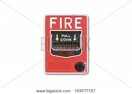 isolated white background. Push button switch fire