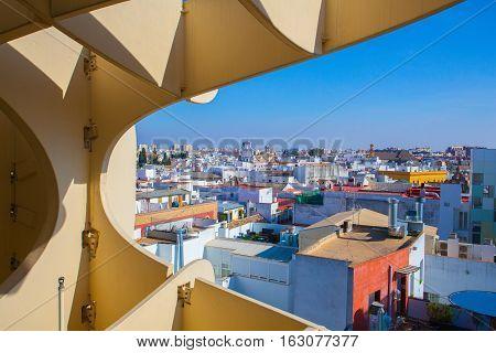 Seville Spain - November 192016:View from Metropol Parasol is the modern architecture on Plaza de la Encarnacion.
