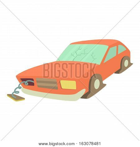 Broken car icon. Cartoon illustration of broken car vector icon for web