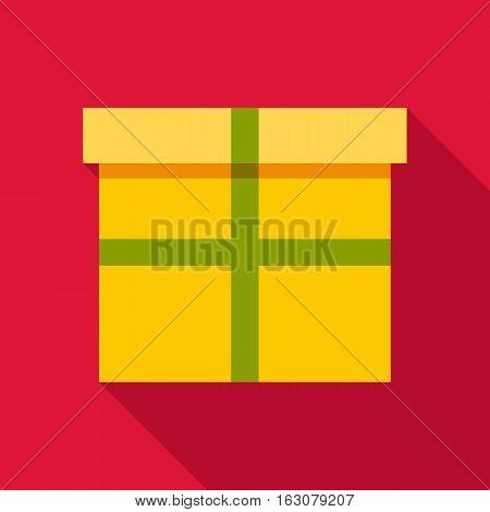 Yellow box icon. Flat illustration of yellow box vector icon for web