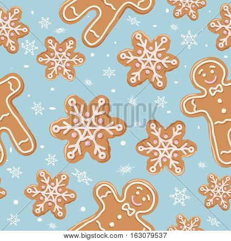 Christmas gingerbread seamless pattern. Ginger cookies on blue background. Vector illustration. Cute Xmas background for wallpaper gift paper pattern fills textile greetings cards