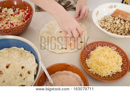 preparation of homemade shwarma or doner kebab, toned image