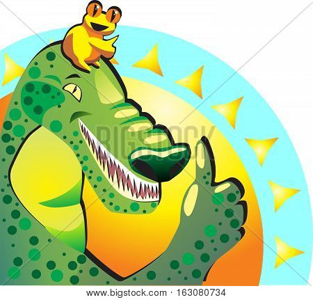 Like. Joyful happy frog and crocodile show thumbs up. They approve vacation on the sea sunny resort.
