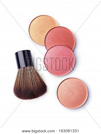 Colored Blush And Makeup Brush