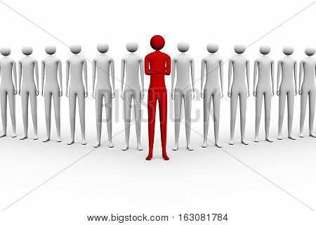 the team leader in the center of a group of people 3d illustration