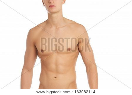 Sports And Fitness Topic: Naked Sporty Muscular Man Standing Isolated On White Background In The Stu