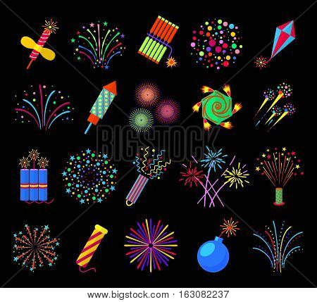 Pyrotechnics and fireworks vector illustration, petards and fire crackers signs. Firecracker and bomb with fuse in fire