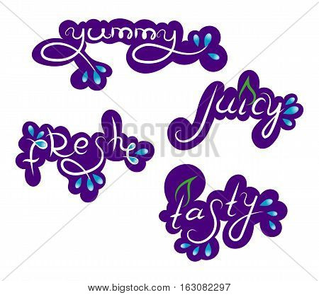 Set of Stickers, Label, Yummy, Juicy, Fresh, Tasty, Violet, Vector Illustration EPS10