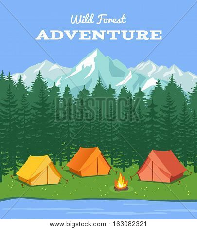 Outdoor camping. Nature background with river and forest, mountains and camp tent vector illustration. Expedition and tourism travel, forest and river