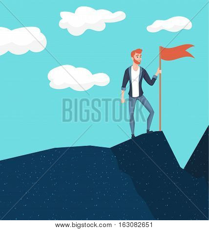 Businessman in mountains. Leader on the top. Vector illustration in flat cartoon style. Conception of success