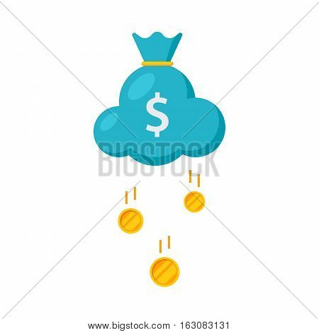 Concept of Success like a cloud in shape of bag with money rain