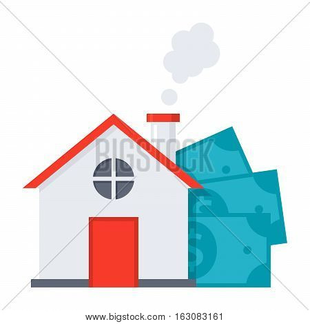 Concept of Mortgage loan like a house and money