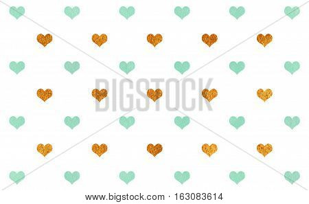 Watercolor Hearts On White Background Pattern.