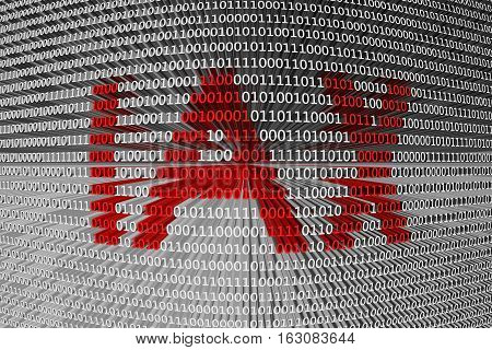 IAX in the form of binary code, 3D illustration