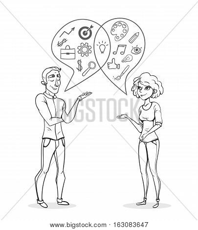 Collaboration of two people. Creative woman and man analyst. Business sketch vector illustration. Outline