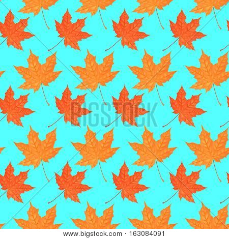 Seamless pattern with autumn maple foliage. Creative vector illustration. Catroon style