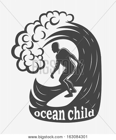Vintage logo. Men surfing on wave. Surf logotype. Flat