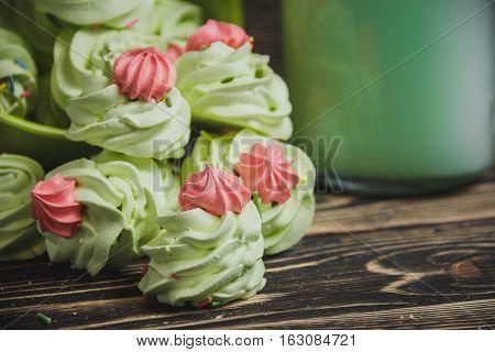 Homemade apple zefir, placed on wooden background