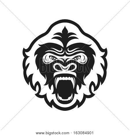 Gorilla head logo for sport club or team. Animal mascot logotype. Template. Vector illustration. Flat style